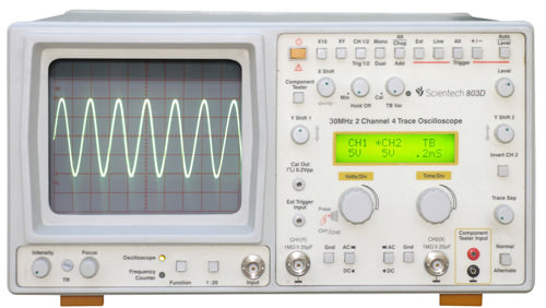 30 MHz 2 Channel 4 Trace Digital Readout  Oscilloscope with Frequency Counter